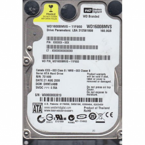 HDD notebook 160 GB Western Digital SATA 2.5""