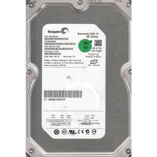 "HDD 360 GB Seagate SATA II 3.5"" - second hand"