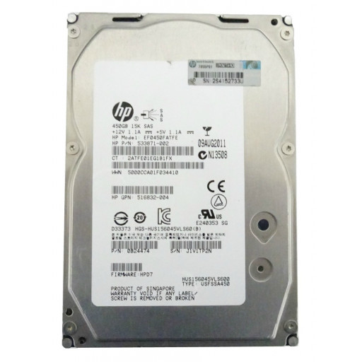 "HDD 450 GB HP SAS 15k RPM 3.5"" - second hand"