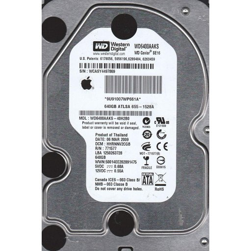 "HDD 640 GB Western Digital Caviar SE16 SATA 3.5"" - second hand"