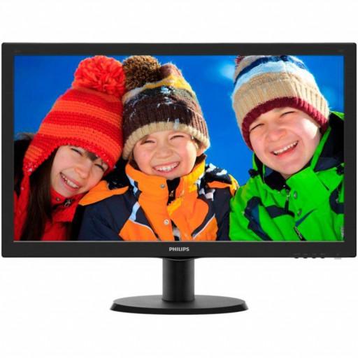 Monitor LED Philips 243V5LHAB/00, V-line, 23.6'' 1920x1080@60Hz, 16:9, TN, 1ms, 250nits, Black, 3 Years, VESA100x100/VGA/DVI/HDMI/