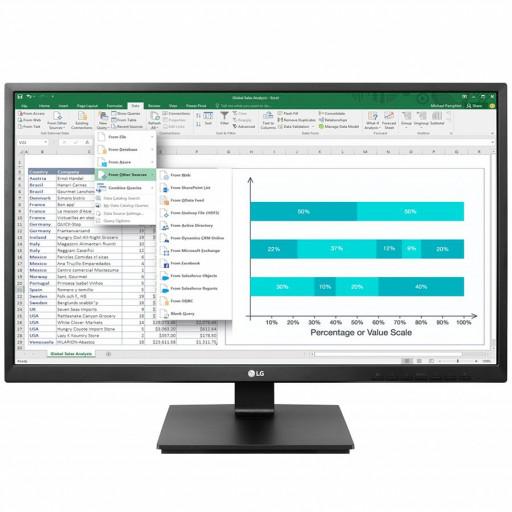 Monitor LED LG 24BK550Y-B 23.8'', 1920x1080, IPS, 1000:1, 5M:1, 178/178, 5ms, 250cd, VGA, DVI, HDMI, DisplayPort, speakers 2x1.2W, borderless, pivot, height