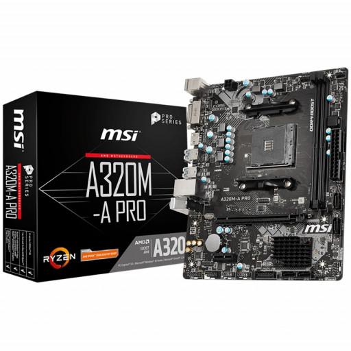 MSI A320M-A PRO, m-ATX, AMD AM4 Socket, 1 x PCI-E 3.0 x16 slot,2 DIMMs, Dual Channel DDR4 up to 3200(OC) MHz, 1 x PCI-E 3.0 x1 slot, 4 x SATA 6Gb/s, 6 x USB 3.2 Gen1 + 6 x USB 2.0, Realtek 8111H Gigabit LAN, 8-Channel(7.1) HD Audio with Audio Boost