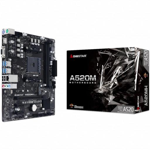 BIOSTAR Main Board Desktop A520, AM4, 2xDDR4, VGA/HDMI, 1xPCIe x16, 2xPCIe x1, 1xM.2, 4xSATA, GbE LAN, mATX