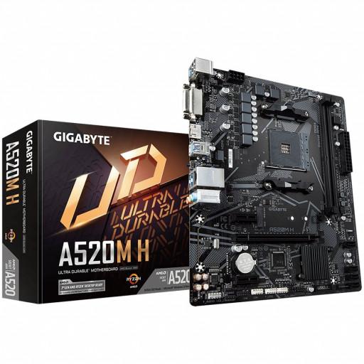 Gigabyte A520M H ( AMD A520, 2xDDR4, DVI-D/ HDMI, 1xPCI x16, 2xPCI x1, 1xM.2, 4xSATA, mATX