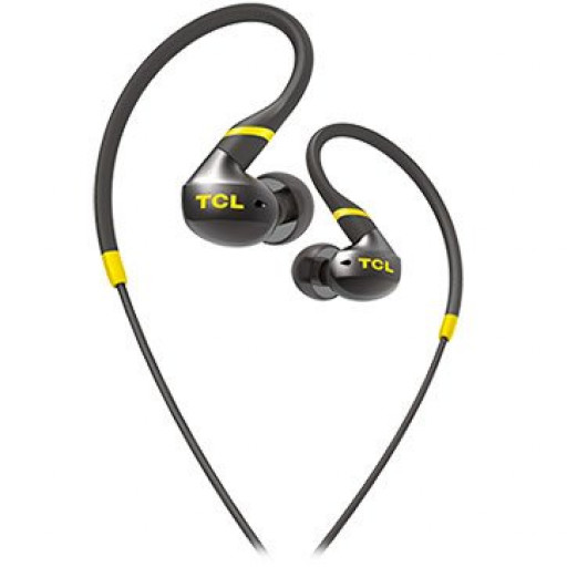 TCL In-ear Wired Sport Headset, IPX4, Frequency of response: 10-22K, Sensitivity: 100 dB, Driver Size: 8.6mm, Impedence: 16 Ohm, Acoustic system: closed, Max power input: 20mW, Connectivity type: 3.5mm jack, Color Monza Black
