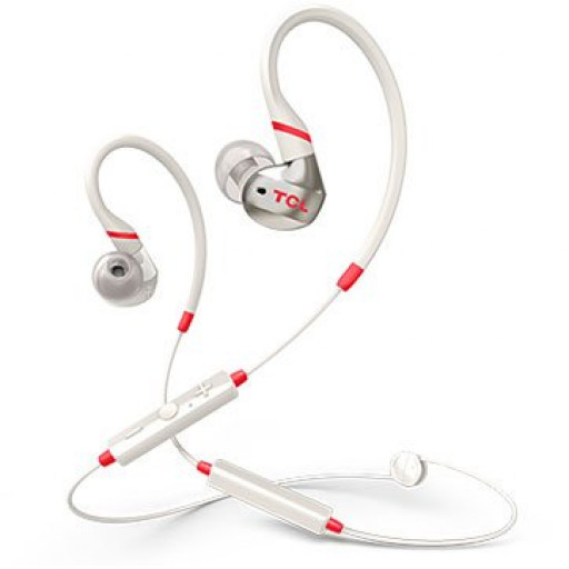 TCL In-ear Bluetooth Sport Headset, IPX4, Frequency of response: 10-22K, Sensitivity: 100 dB, Driver Size: 8.6mm, Impedence: 16 Ohm, Acoustic system: closed, Max power input: 20mW, Bluetooth (BT 5.0) & 3.5mm jack, Color Crimson White