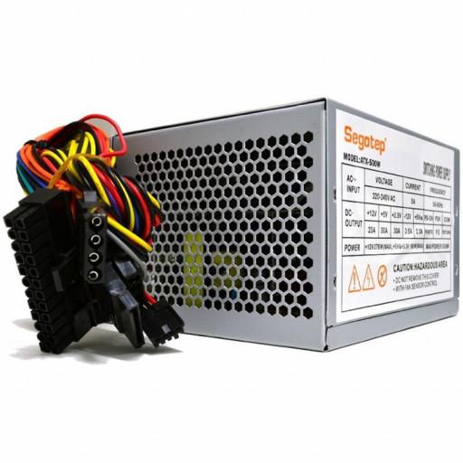 Segotep ATX-500W 500W PSU, ventilator silentios de 80mm cu control termic automat, 2x SATA, 2x Molex, 1x Floppy, SCP/OCP/OVP, Passive PFC, bulk+cablu de curent
