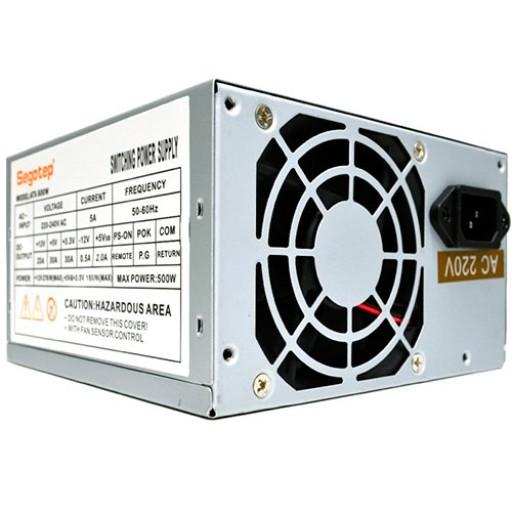 Power Supply Unit Segotep ATX-500W 500W PSU, 80 mm silent fan with automatic thermal control, 2 x SATA, 2 x Molex, 1 x Floppy, SCP/OCP/OVP, Passive PFC, bulk + power cord