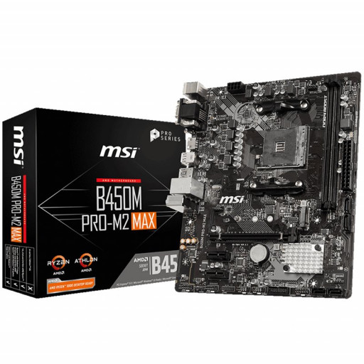MSI Main Board Desktop B450 (SAM4, 2xDDR4, 1xPCI-Ex16, 2xPCI-Ex1, USB3.2, USB2.0, 4xSATA III, M.2, Raid, VGA, DVI-D, HDMI, GLAN) mATX Retail