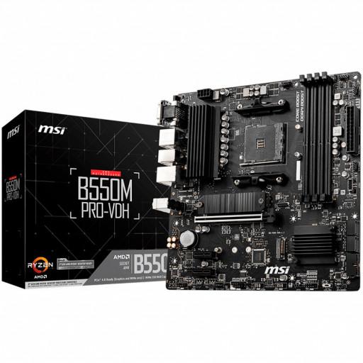 MSI Main Board Desktop B550M PRO-VDH (AM4, 4xDDR4, 1xPCI-E X16 4.0/3.0, 2xPCI-E X1, 4xSATAIII, 2xM.2, RAID, 7x USB3.2 Gen1, 6x USB2.0, DP, VGA, HDMI, ALC892/ALC897, GLAN) mATX Retail