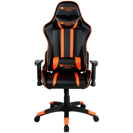 Gaming chair, PU leather, Cold molded foam, Metal Frame, Top gun mechanism, 90-165 dgree, 2D armrest, Class 4 gas lift, Nylon 5 Stars Base, 60mm PU caster, black+Orange.