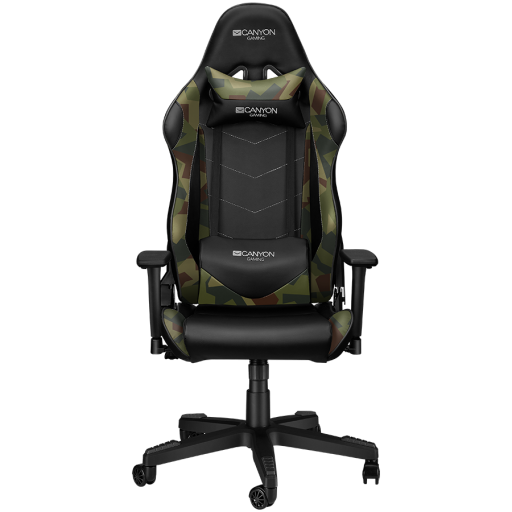 Gaming chair, PU leather, Original foam and Cold molded foam, Metal Frame, Top gun mechanism, 90-165 dgree, 3D armrest, Class 4 gas lift, Nylon 5 Stars Base, 60mm PU caster, Black+camouflage pattern
