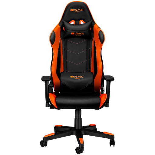Gaming chair, PU leather, Original foam and Cold molded foam, Metal Frame, Top gun mechanism, 90-165 dgree, 3D armrest, Class 4 gas lift, Nylon 5 Stars Base, 60mm PU caster, black+Orange.
