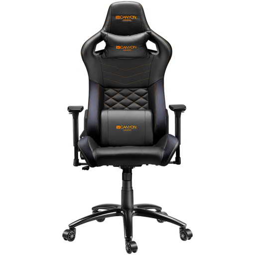 Gaming chair, PU leather, Cold molded foam, Metal Frame, Top gun mechanism, 90-160 dgree, 3D armrest, Class 4 gas lift, metal base ,60mm Nylon Castor, black and orange stitching