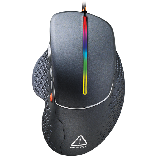 Wired High-end Gaming Mouse with 6 programmable buttons, sunplus optical sensor, 6 levels of DPI and up to 6400, 2 million times key life, 1.65m Braided USB cable,Matt UV coating surface and RGB lights with 7 LED flowing mode, size:123*81*53mm, 150g