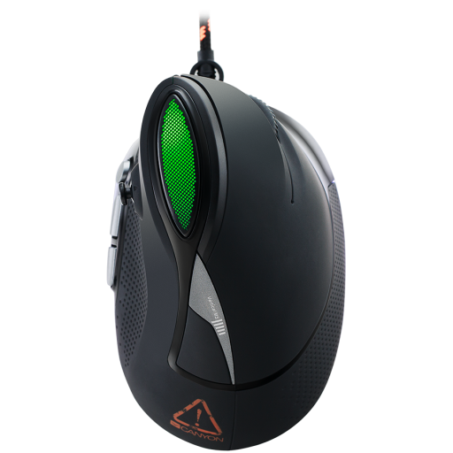 Wired Vertical Gaming Mouse with 7 programmable buttons, Pixart optical sensor, 6 levels of DPI and up to 4800, 2 million times key life, 1.65m Braided USB cable,rubber coating surface and colorful RGB lights, size:106*72*84mm, 182g