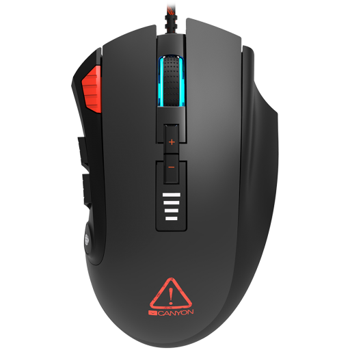 CANYON,Gaming Mouse with 12 programmable buttons, Sunplus 6662 optical sensor, 6 levels of DPI and up to 5000, 10 million times key life, 1.8m Braided cable, UPE feet and colorful RGB lights, Black, size:124x79x43.5mm, 148g