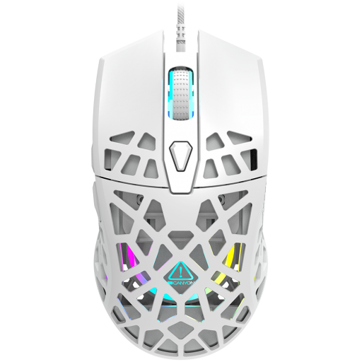 Puncher GM-20 High-end Gaming Mouse with 7 programmable buttons, Pixart 3360 optical sensor, 6 levels of DPI and up to 12000, 10 million times key life, 1.65m Ultraweave cable, Low friction with PTFE feet and colorful RGB lights, white, size:126x67.5x39.5
