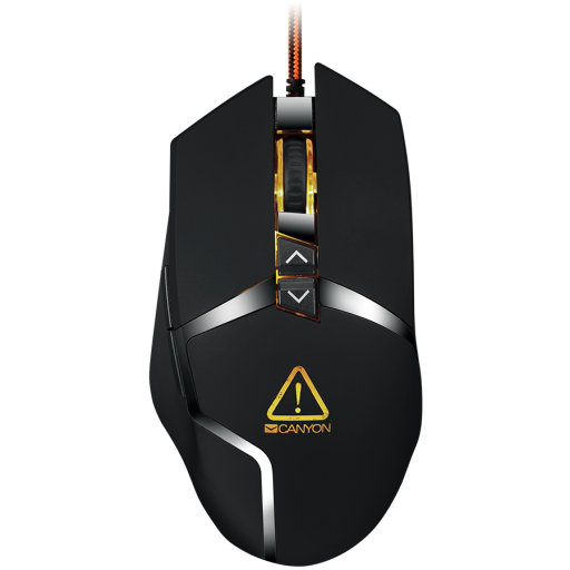 CANYON Wired gaming mouse programmable, Sunplus 189E2 IC sensor, DPI up to 4800 adjustable by software, Black rubber coating with chrome design, cable length 1.7m, 130*72*40mm, 0.12kg