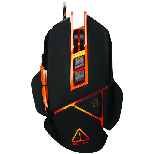 CANYON Optical gaming mouse, adjustable DPI setting 800/1600/2400/3200/4800/6400, LED backlight, moveable weight slot and retractable top cover for comfortable usage, Black rubber, cable length 1.70m, 137*90*42mm, 0.154kg(replacement)