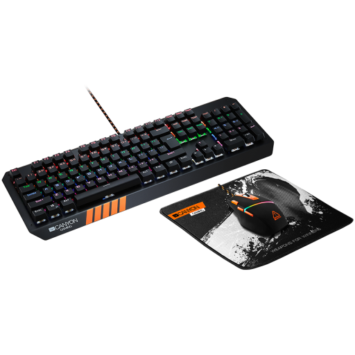 CANYON 3in1 Gaming set, Keyboard with rainbow LED(104 keys), Mouse with RGB(DPI 800/1600/3200/4200), Mouse Mat with size 350*250*3mm, Black, 1.3kg, US layout