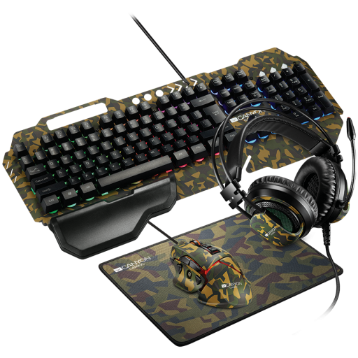 CANYON 4in1 Gaming set, Keyboard with backlight(104 keys), Mouse with weight adjustment(DPI 800/1000/1200/1600/2400/3200/4800/6400), Mouse Mat with size 350*250*3mm, Headset with Microphone and volume control, Black, 1.68kg, US layout