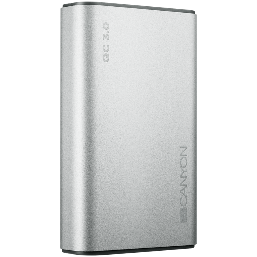 Canyon Power bank 10000mAh Li-polymer battery, Input Micro/PD 18W(Max), Output PD/QC3.0 18W(Max), with Smart IC, Aluminium alloy, cable length 0.24m, 100*62*22mm, 0.25kg, Silver
