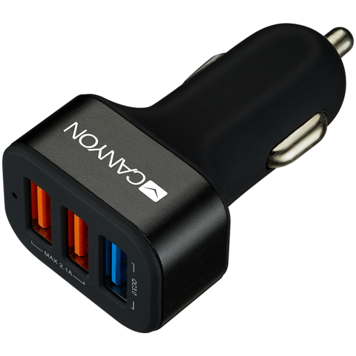CANYON Universal 3xUSB car adapter(1 USB with Quick Charger QC3.0), Input 12-24V, Output USB/5V-2.1A+QC3.0/5V-2.4A&9V-2A&12V-1.5A, with Smart IC, black rubber coating+black metal ring+QC3.0 port with blue/other ports in orange,  66*35.2*25.1mm, 0.025kg