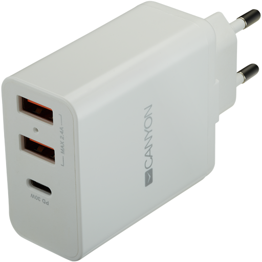 CANYON H-08 Universal 3xUSB AC charger (in wall) with over-voltage protection(1 USB-C with PD Quick Charger), Input 100V-240V, OutputUSB-A/5V-2.4A+USB-C/PD30W, with Smart IC, White Glossy Color+ orange plastic part of USB, 96.8*52.48*28.5mm, 0.092kg