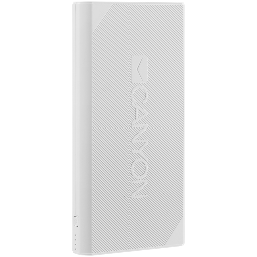 CANYON Power bank 20000mAh Li-ion battery, with Smart IC, Input 5V/2A, Outpput 5V/2.4A, cable length 0.24m, 161*81*22mm, 0.48kg, White