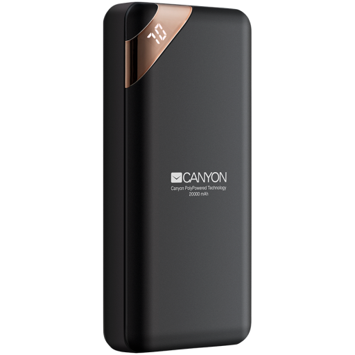 CANYON Power bank 20000mAh  Li-poly battery, Input 5V/2A, Output 5V/2.1A(Max), with Smart IC and power display, Black, USB cable length 0.25m, 137*67*25mm, 0.360Kg