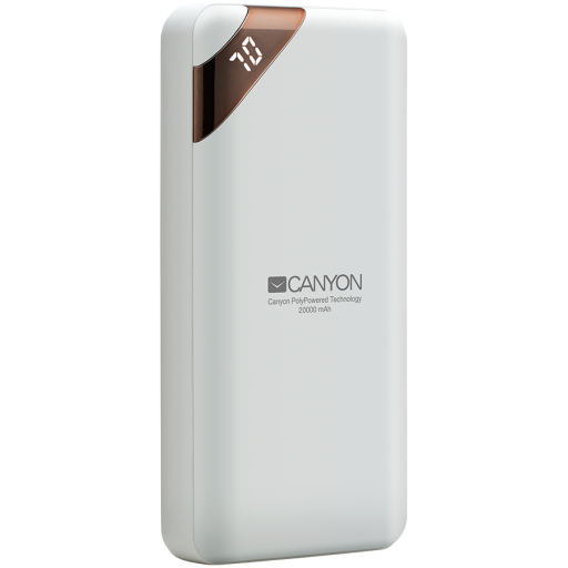 CANYON Power bank 20000mAh  Li-poly battery, Input 5V/2A, Output 5V/2.1A(Max), with Smart IC and power display, White, USB cable length 0.25m, 137*67*25mm, 0.360Kg