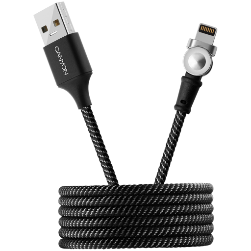 CANYON Rotating magnetic lightning charging cable (no data transfer), USB2.0, Power output 5V/2A, OD 3.2mm, with Short-circuit protection, cable length 1m, Black, 16*6*1000mm, 0.024kg