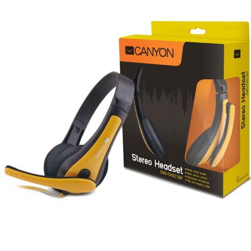 CANYON entry price PC headset, combined 3,5 plug, leather pads, Black-yellow