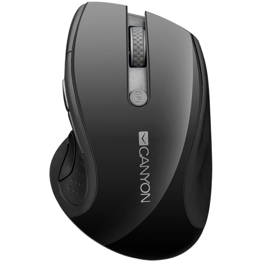 CANYON 2.4GHz wireless mouse with 6 buttons, optical tracking - blue LED, DPI 1000/1200/1600, Black pearl glossy, 113x71x39.5mm, 0.07kg