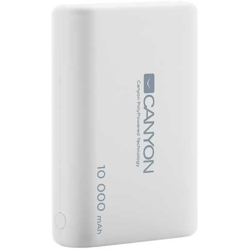 CANYON Power bank 10000mAh Li-poly battery, Input 5V/2.1A, Output 5V/2.1A(Max), with Smart IC, White, 3in1 USB cable length 0.3m, 90*62*22mm, 0.189Kg