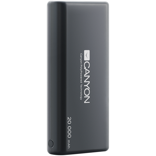 CANYON Power bank 20000mAh Li-poly battery, Input 5V/2.1A, Output 5V/2.1A(Max), with Smart IC, Black, 3in1 USB cable length 0.3m, 140*64*23.5mm, 0.361Kg