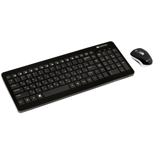 CANYON 2.4GHz wireless combo-set, keyboard 105 keys, chocolate key caps, US layout (black); mouse adjustable DPI 800/1200/1600, 3 buttons (black). 393*150*20mm(KB)/26.37*17.6mm(MS), 0.332kg