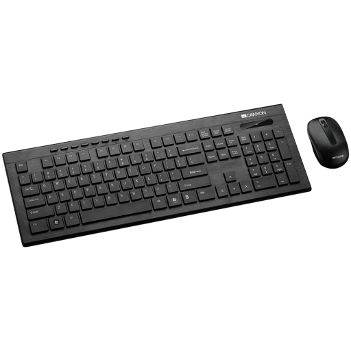 CANYON Multimedia 2.4GHz wireless combo-set, keyboard 104 keys, slim and brushed finish design, chocolate key caps, US layout (black); mouse adjustable DPI 800/1200/1600, 3 buttons (black). 450*154*22.3mm(KB)/98.7*63.3*34mm(MS), 0.55kg