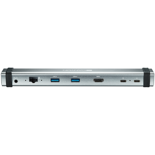 Canyon Multiport Docking Station with 7 ports: 2*Type C+1*HDMI+2*USB3.0+1*RJ45+1*audio 3.5mm, Input 100-240V, Output USB-C PD 5-20V/3A&USB-A 5V/1A, with type c to type c cabel 0.3m, Space gray, 226*33.7*24mm, 0.174kg