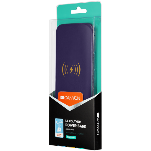 Canyon Power bank with wireless charger function, 8000mAh Li-Poly battery, input 5V/2A, output 5V/2A), Wireless 5W, Purple, cable length 0.3m, 140*72*18mm, 0.19kg