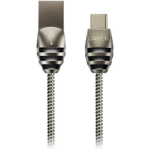 CANYON Type C USB 2.0 standard cable, Power & Data output, 5V 2A, OD 3.5mm, metallic Jacket, 1m, gun color, 0.04kg