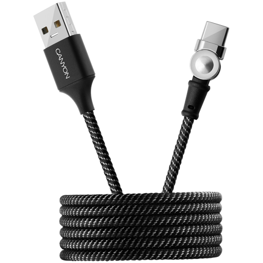 CANYON Rotating magnetic Type C charging cable (no data transfer), USB2.0, Power output 5V/2A, OD 3.2mm, with Short-circuit protection, cable length 1m, Black, 16*6*1000mm, 0.024kg