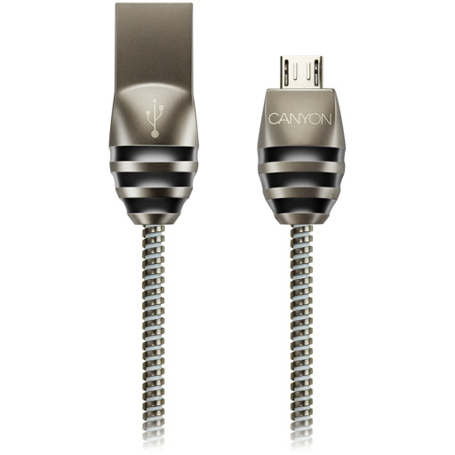 CANYON Micro USB 2.0 standard cable, Power & Data output, 5V 2A, OD 3.5mm, metallic Jacket, 1m, gun color, 0.04kg