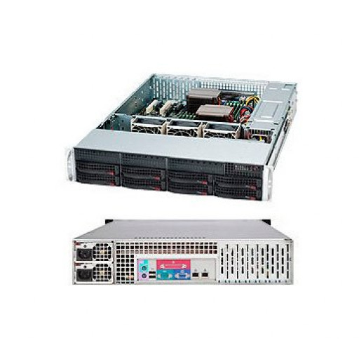 "Supermicro server chassis CSE-825TQC-R802LPB, 2U, Dual and Single Intel and AMD CPUs, 3 x 80mm Hot-swap PWM Fans, 8 x 3.5"" hot-swap SAS3/SATA , 7 low-profile expansion slot(s), 1U 800W  RPSU"