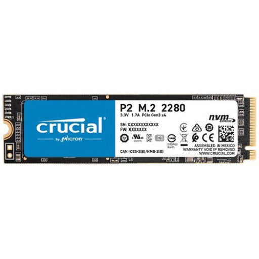 CRUCIAL P2 250GB SSD, M.2 2280, PCIe Gen3 x4, Read/Write: 2100/1150 MB/s, Random Read/Write IOPS: 170K/260K