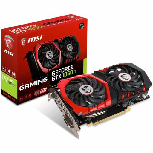 MSI Video Card NVidia GeForce GTX 1050 Ti GAMING GDDR5 4GB/128bit, 1303MHz/7008MHz, PCI-E 3.0 x16, DP, HDMI, DVI-D, Twin Frozr VI Cooler LED(Double Slot), Retail