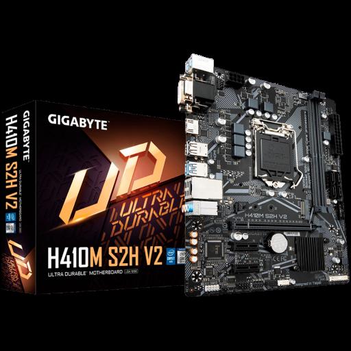 GIGABYTE Mainboard Desktop H410 (S1200, 2xDDR4, HDMI, DVI-D, VGA, 1xPCIex16, 2xPCIex1, ALC887, 8118 Gaming GbE LAN, 4xSATA III, 1xM.2, USB 3.2, USB 2.0) mATX retail