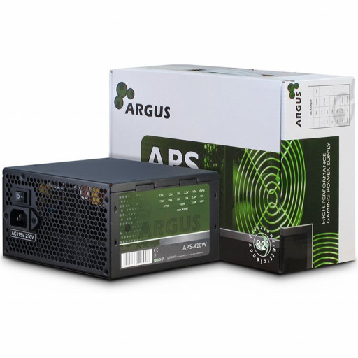 Power Supply Unit Inter-Tech Argus 420W PSU, efficiency 85.5%, dual rail (17A/18A), 120 mm silent fan with automatic thermal control, 1 x 6+2pin PCIE, 3 x SATA, 2 x Molex, 1 x Floppy, 1 x 4+4pin EPS12V, SCP/OCP/OVP//OPP/NLP, Active PFC, ATX 2.31, sizes (h